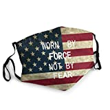Adjustable Adult American Flag Worn by Force Not by Fear Face Mouth Ma-SKS Reusable Balaclave Mouth Guard Cover