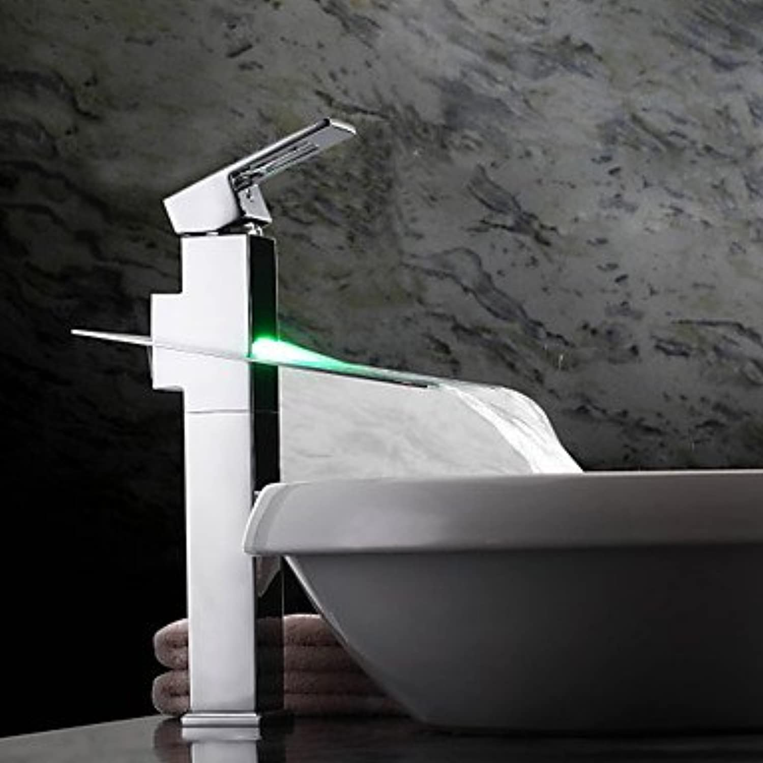 SYX color Changing LED Waterfall Bathroom Sink Faucet (Tall)