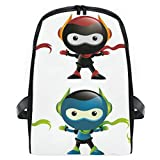 ELIENONO Mochilas Escolares Juveniles,Robot Ninja Mascot Set,Mochila Hombre Casual Mochila para Portatil Resistente Mochila Instituto para Chicos,para Diario Negocio Trabajo Viaje
