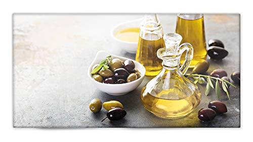 Glasvision | Küchenrückwand aus Glas | Spritzschutz | Memoboard | Herdabdeckplatte (80 x 40 cm, Fine Olive)