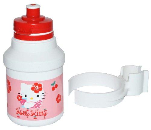 alles-meine.de GmbH Fahrradtrinkflasche - Hello Kitty - mit Halterung - Halter für Kinder Fahrradflasche Fahrrad Trinkflasche Mädchen Katze Flaschenhalter Kunststoffflasche