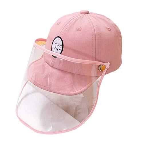 YONKINY Basecap Kinder Baby Anti-Speichel Staubdichte Anglerhut mit Gesichtsschutz Anti-UV-Sonnenhut Visier Kappe (Pink)