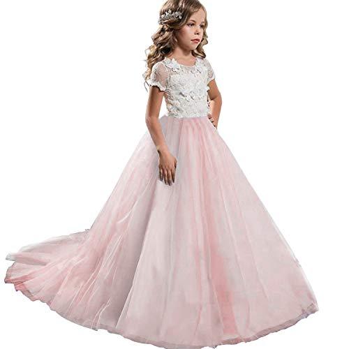 NNJXD Mädchen Spitze Tüll Gestickte Prinzessin Prom Ballkleid Formale Partei Lang Schwanz Kleider Größe (130) 6-7 Jahre Rosa