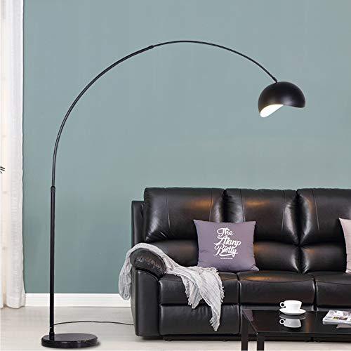 Retro Huiskamer Vloerlamp Creatief Decoratief Booglamp Dimbaar Staande lamp E27 12W Hoogte Verstelbaar, Marmeren Baseren Voor Slaapkamer Kantoor Eettafel 180-200 cm,Black