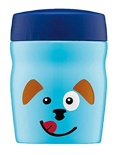 alfi Thermobehälter für Essen Kinder foodMug, Edelstahl 350ml Blau Hund, Kinder Speisegefäß für Schule, Kindergarten, 0637.103.035, auslaufsicher, BPA-Frei, 6 Stunden heiß, 12 Stunden kalt