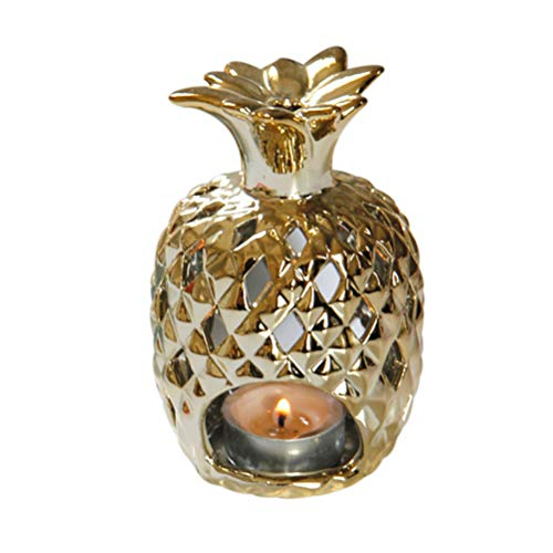 Keramik Ananas geformte Kerzenhalter Home Wedding Decor - ohne Kerze (Golden)