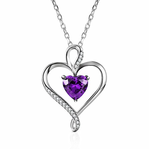 Caperci Sterling Silver Amethyst Heart Pendant Necklace Jewelry for Women, 18''