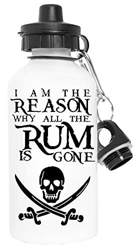 I Am The Reason All The Rum Is Gone Sport Podróżować Biały Butelka Wody Metal Szczelne Travel White Water Bottle Leak-Proof