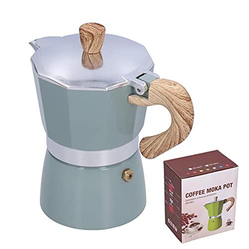 Cafetera Moka de estufa de 150 ml, cafetera octogonal Moka con mango de madera para cocina, oficina en casa(Mar verde)