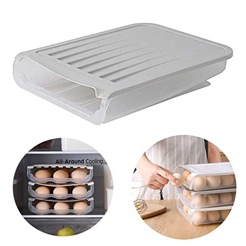 Learn More About yunshuoa Egg Storage Box,Auto Scrolling Egg Storage Holde Transparent Plastic Refri...