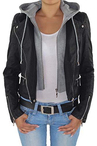 Sotala Damen Lederjacke Kunstlederjacke Leder Jacke Damenjacke Jacket Bikerjacke mit Kapuze L