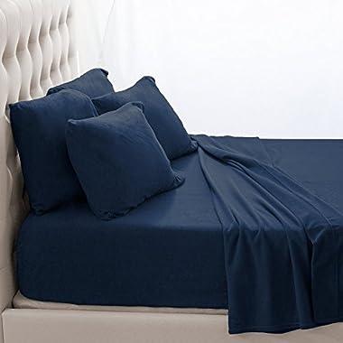 Fleece Super Soft Premium Sheet Set - Extra Plush Pill-Resistant All Season Cozy Breathable Hypoallergenic (King, Dark Blue)