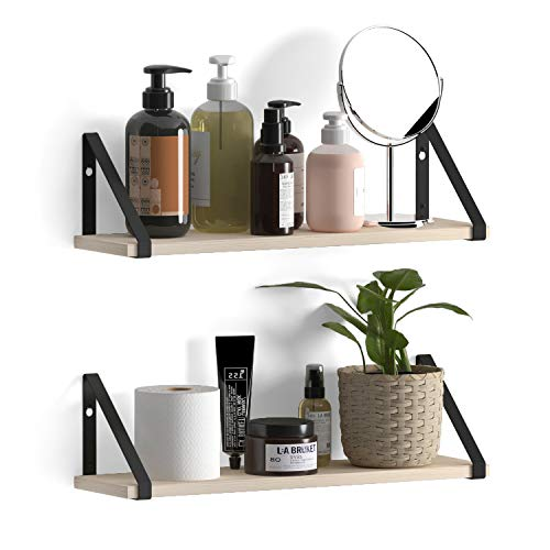 Wallniture Ponza Wood Floating Shelves for Bathroom Decor, Organization and Storage Shelves Wall Mounted Set of 2 Natural