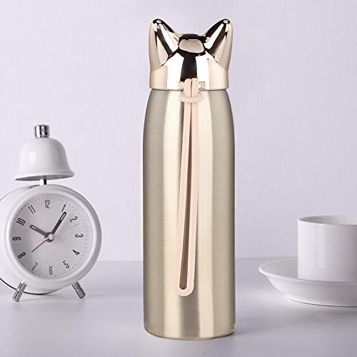 Tazza termica portatile in acciaio inox con manico in silicone per ufficio (champagne oro)