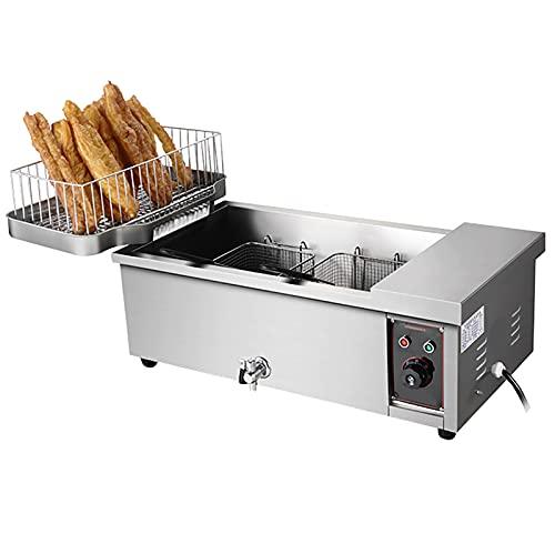 Freidora Comercial Grande Con Pan Aceite Lek, 3000W 12L Fryer Deep Fryer Electric Food Cooking Friend Fries Home Restaurant