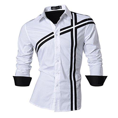 jeansian jeansian Herren Freizeit Hemden Shirt Tops Mode Langarmshirts Slim Fit (USA L, Z006a_White)