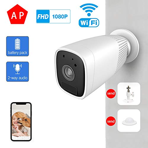 Drahtlose Batterie-Überwachungskamera, 2,4 GHz, wiederaufladbares, akkubetriebenes HD für Außen- / Innenbereiche, Home Surveillance-Kamera, wasserdichter 2-Wege-Audio-PIR-Bewegungssensor,1080P32G