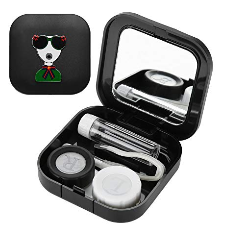 Kontaktlinsen Aufbewahrungsbox, Mini Tragbare Cartoon Brille Container Halter mit Spiegel Pinzette Applikator und Lösung Flasche Reise Heimgebrauch(schwarz)