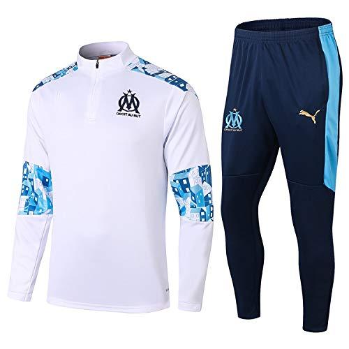 LQRYJDZ Marseille 20-21 Neue Saisonmänner Fußball Trainingsanzug Fans Football Jersey Uniform Sportswear-Football Club Atmungsaktives und schnell trocknendes Training Jersey (Tops + Hosen)