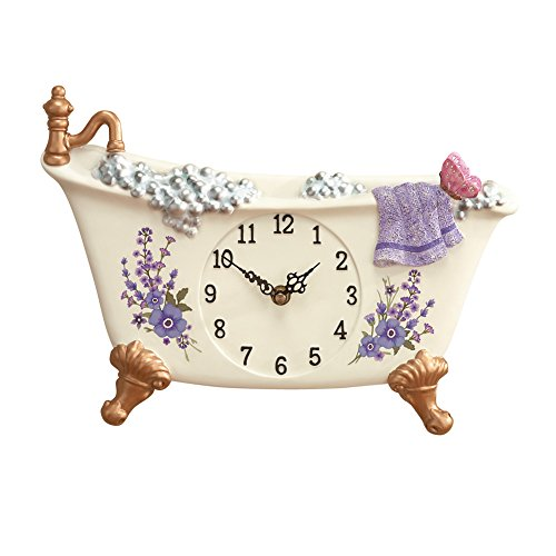 Collections Etc Lavender Bathtub Decorative Wall Clock