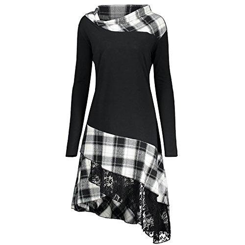 CharMma Frauen Übergröße Mock Neck Sweatshirt Asymmetrisch Top Spitzen Bluse Langarm Hemd (XL, Weiß)