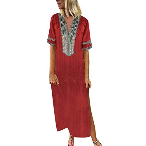 Vimoli Kleider Damen Bedrucktes Kurzarm V-Ausschnitt Party MaxiKleid Saum Baggy Kaftan Langes Kleid Boho Freizeit Kleid (Rot,De-40/CN-XL)