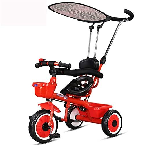 Triciclo Evolutivo Toral Marco de acero de alto carbono, triciclos, bicicletas, cochecitos y niños menores de 15 años, con toldos y putter extraíbles, pedales plegables (color: rojo) ( Color : Rosso )