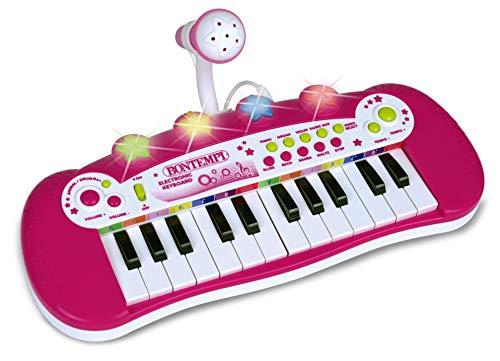Bontempi-122971 Teclado electrónico de 24 Teclas y micrófono, Color Rosa, Rojo, Blanco...
