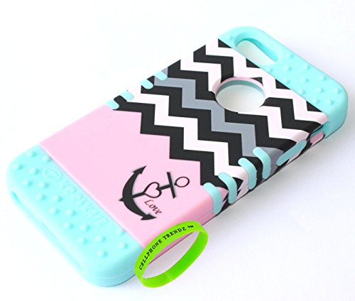 Cellphone Trendz Hybrid Rocker Case for Apple iPhone 5, 5s, 5g - Anchor Chevron Design Case (Pink Love Anchor on Mint Blue)