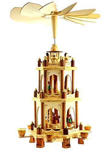 Pyramide aus Holz 44 cm groß Weihnachtspyramide Kerzenpyramide Dekoration für Weihnachten Weihnachtsdekoration Weihnachtsgeschenkidee