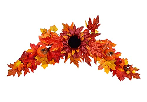 25 Inch Artificial Fall Sunflower Swag,  Perfect on a Wall or Door.
