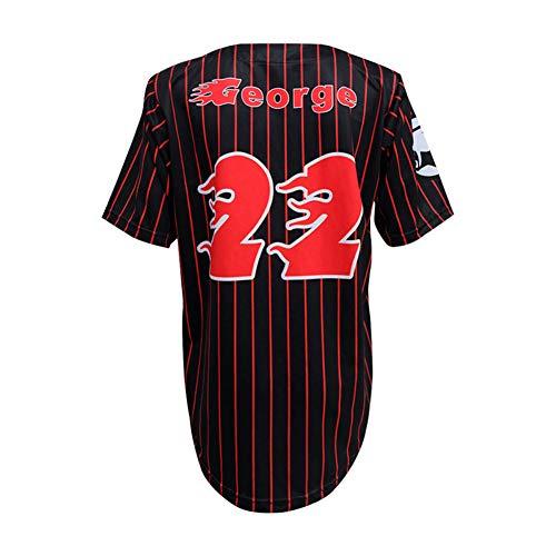 CMAO # 22 George Maillot de Baseball pour Hommes Maillot de Baseball pour Les Fans T-Shirt à Manches Courtes Équipe de Jeu Uniforme Cardigan boutonné Noir Rayures Verticales XXS-3XL-S