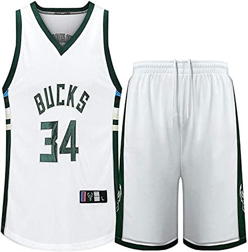 Bucks No. 34 Ropa De Baloncesto Baloncesto Jersey Basketball Shorts Jersey Baloncesto Uniforme Camisa Y Manga Corta Chaleco, Adecuado para Actividades Al Aire Libre, Negro, XXL, White - XXL