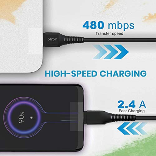 pTron Solero M241 2.4A Micro USB Data & Charging Cable, Made in India, 480Mbps Data Sync, Durable 1-Meter Long USB Cable for Micro USB Devices - (Black)