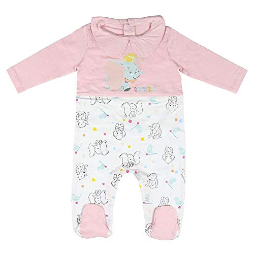 Cerdá Pelele Dumbo de Bebe Niña-100% algodón Juego de Pijama, Rosa, 9 Meses para Bebés