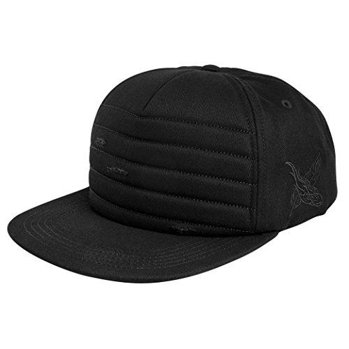 Blackskies Raider Snapback Cap | Gorra de béisbol Negra Unisex destruida Estilo Acolchado