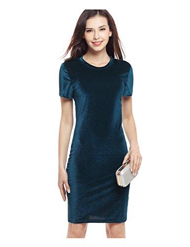 Bestgift dames fluweel elegant hoog taille cocktailparty potloodjurk met korte mouwen knielange vintage jurk donkergroen Aisa L (EU M)