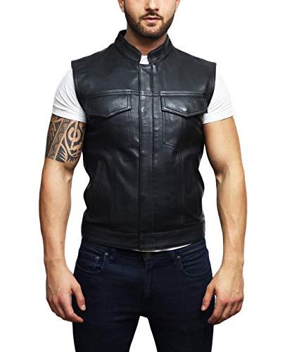 BRANDSLOCK Männer Echtes Leder Taille Mantel Smart Casual Cowboy Style