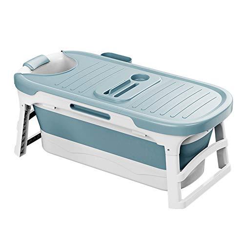 GRFD Bañera portátil, bañera Plegable, bañera, bañera móvil con jabonera 138 cm, cojín para el Cuello, Taburete, Azul