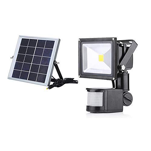 20W LED Solar Strahler mit Bewegungsmelder 3 modi - Fluter Solarpfosten IP65 Wasserfest Aluminium Warmweiß - für Garten,Garage,Hof (20W Warmweiß)