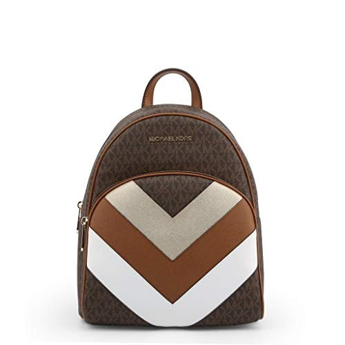 Michael Kors Abbey Zaino in tela rivestita in PVC con motivo a zigzag, Marrone (Marrone), Medium