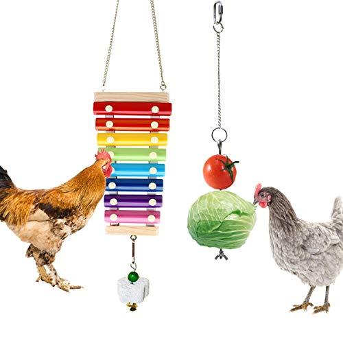 Vehomy Chicken Xylophone Toy Chicken Veggies Skewer Fruit Holder Chicken Vegetable Hanging Feeder Chicken Toys for Hens 2Pcs