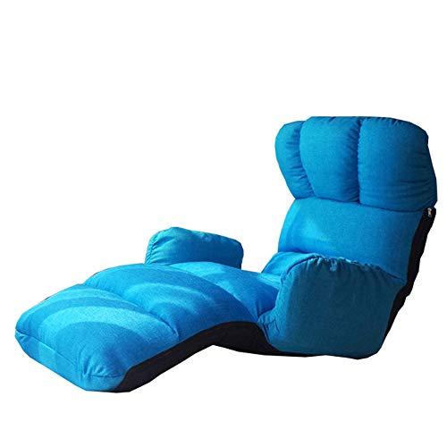 LJFYXZ Canapé Paresseux Chaise Multifonction Fauteuil Réglage à 5 Vitesses Lavable Salon Chambre Chaise Longue (Couleur : Bleu)