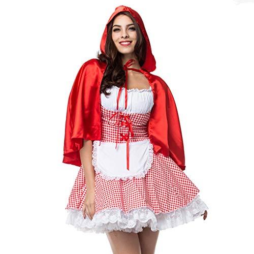 CLOOM Talla Grande Halloween Cosplay Vestidos De Fiesta Cortos Caperucita Roja Bruja Disfraz Sexy&Elegante Faldas De Tul con Chal para Mujer Navidad Carnaval Noche Fiesta
