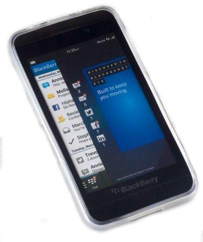 PeKa Internethandel Silikon TPU Handy Cover Hülle Hülle in Foggy - Plus Bildschirmschutzfolie kompatibel mit BlackBerry Z10