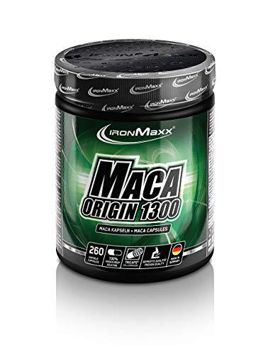 IronMaxx Maca Origin 1300 - 260 Kapseln - Maca-Präparate sind bei Sportlern beliebt zum Muskelaufbau & Muskelwachstum - mit Proteinen, BCAA's und L-Arginin - Designed in Germany