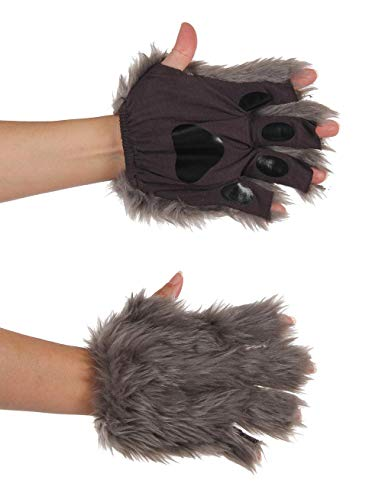 Gray Fingerless Wolf Animal Costume Paws for Adults and Kids
