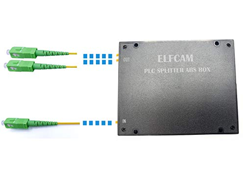 Elfcam - Divisor Splitter Optico PLC SC APC Monomodo Simple 2,0mm con Caja ABS para FTTH (1X2)