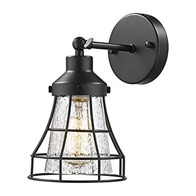 Industrial Metal Cage Wall Sconce - VICNIE Vintage Farmhouse Wall Lamp, 180 Degree Adjustable Wall Lighting Fixture, Matte Black Finish with Seeded Glass Lampshade, TXB-001