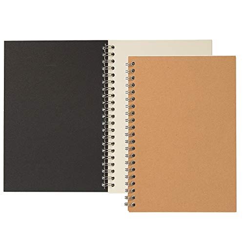 YiTai Soft Cover Spiral Sketchpad Notebooks, Blank Sketch Book Pad, Wirebound Memo Notepads Diary Notebook Planner with Unlined Paper, 100 Pages/ 50 Sheets, 7.5'x 5.1'(2 pack)